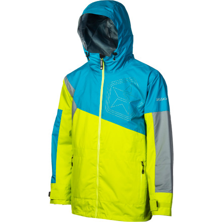Snowboard After the Sessions Decon Colorblock Men's Snowboard Jacket helps you be seen, you can let your riding do the talking. The asymmetrical pattern on the dobby fabric gives it a unique look that will make you stand out in a crowded park, and it will keep you dry when the snow starts dumping and it's time to switch to pow. - $69.98