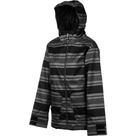 Snowboard Cruise the park in style in the Sessions Jane Heather Stripe Women's Snowboard Jacket. The DWR-treated heather fabric adds a classy touch and sheds moisture to keep you dry on most days, and 80g synthetic insulation keeps you cozy on crisp mornings. When it warms up in the afternoon, zippered underarm vents dump heat. - $67.98