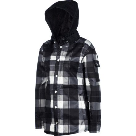 Snowboard The Sessions Women's Lumber Jack-ette Jacket combines the casual button-up look of a flannel shirt with the weather-shielding, warmth-holding awesomeness of a snowboarding jacket. This fleecy flannel jacket is great for shoulder-season riding when you need a little extra protection over your baselayer. It's even great for loitering around town when there is a chill in the air. - $80.98