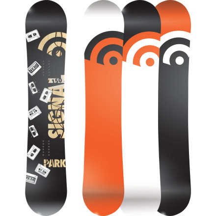 Snowboard If you're skeptical of crazy hybrid profiles, unpronounceable materials, and questionable board shapes, check out the Signal Park Series Snowboard for a reminder of simpler, funner times. Traditional camber, a wood core, and carbon stringers provide all the pop you need for boosting ollies and launching kickers, and the lightweight-yet-bomber construction ensures it will hold up to abuse in the park and on the streets. - $221.97