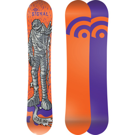 Snowboard Don't let the mummy on the topsheet intimidate you, the Signal OG Flat Jake Olson Elm Snowboard is as friendly a board as they come. The flat profile is stable for easy landings and forgiving so you can get loose like Jake O.E. Plus, the good folks at Signal made it right here in the USA so you can feel good about supporting an American company. - $269.40