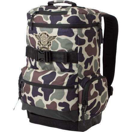Skateboard Looking for a fresh pack that can easily transport your laptop, tablet, skateboard, albino pet hamster, bottle of Swedish massage oil, elk carcass, and whatever the hell else you feel like carrying Look no further than the Skullcandy MITW Skate Backpack. - $38.97