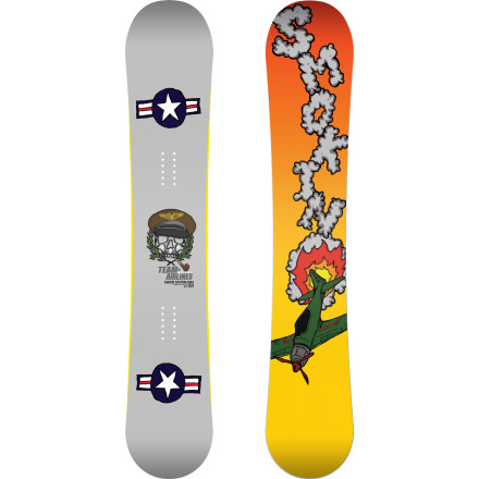 Snowboard Take flight with the Smokin Team Series ATX Snowboard. The flat profile makes it stable at high speeds and on landings so you can drop bombs on the jump line, yet still playful enough for easy jibbing and buttering. Skate Kicks tips add a little extra float in pow and Magne Traction grips on  icy slopes like no other edges can. - $346.47