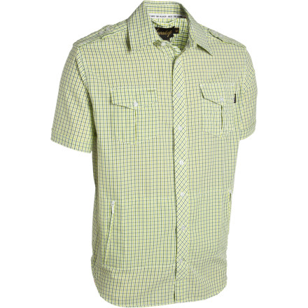 The Sneaktip Cobra Seersucker Button-Down Shirt puts a modern spin on the classic plaid button-down by sweating all the details and adding fly features like military-inspired shoulder epaulets, pen-holders above the left chest pocket, and some zippered stash pockets to keep your wad from getting robbed when entering sketchy territory. - $31.98