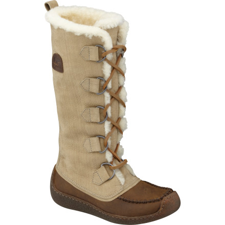 Cozy up your lower leg in the Sorel Women's Chugalug Tall Boot, with full-grain leather upper, faux fur lining, moc-stitched, lace-up style, and crepe-like sole. Your upper leg will be envious of the timeless great look and modern sensibility your lower leg's enjoying. - $129.98