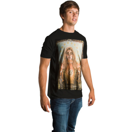 Swoop on the Spacecraft Death Saint T-Shirt and consider your Dia De Los Muertos costume taken care of. - $10.78