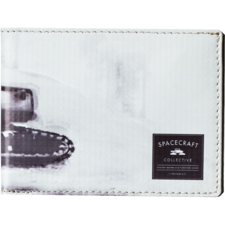 Entertainment A full-color digital print of one lucky snowcat covers the outside of the Spacecraft Pin Up Wallet. Inside this 11-pocket bifold, mirrored silver vinyl dresses your bills and cards in glint. - $17.47