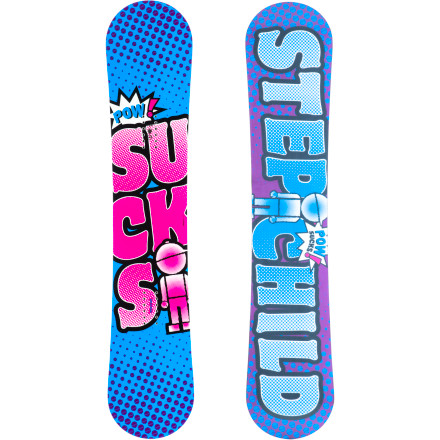 Snowboard Stepchild's most popular board is also its most ironic'cause you know damn well powder doesn't suck. You know what does suck Too-stiff boards that won't let you hold a proper press. The Sucks features a traditional camber design for power when you need it, and also just so happens to float like a dream in case one of those pesky two-foot dumps interrupts your jib session. The medium-soft flex is perfect for park riding and all-around freestyle fun, with plenty of pop for clearing road gaps or ollieing slow signs. - $215.97