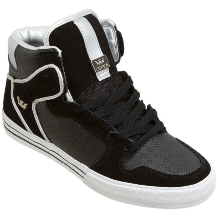 Skateboard Sneakerheads beware: the Supra Men's Vaider High Top is poised to feed the shit out of your addiction. The old Supra Raider, one of Supra's first bridges between skate and street culture, receives a vulcanized rubber sole to become the Vaider (Vulcanized Raider=Vaider, get it), with crucial perforated leather and suede vamp and trim accents that ice the cake. This may be a design with a year under its belt, but one look and you'll know it just got better with age. - $71.96