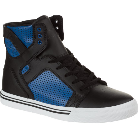 Skateboard Start him off on the right foot with the Supra Youth Skytop Shoe. With its shiny styling and cool crown print, he'll be psyched to put on his shoes before running around like a crazy person all day. Now if you can only get him to put them on the correct feet. - $51.96