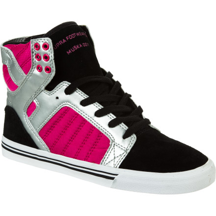 Skateboard The hardest thing about the flexible Supra Women's Skytop Skate Shoe is picking a favorite. With uppers crafted from mixed materials ranging from suede to nylon to hard leather, the Women's Skytop brings durability alongside its compelling looks. And once you've chosen between differentiating textures and colors, you enjoy comfort and support thanks to the skate-proven design. But if you decide to collect them all, we can't say we'd blame you. - $80.96