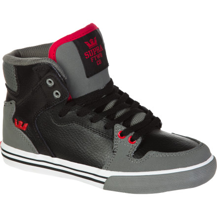 Skateboard Today the playground, tomorrow the world... the Supra Vaider Youth Skate Shoe was designed for those big dreamers with small feet. High-top construction meets a low-pro vulc outsole, and the Vaider's overall iconic look is approved by tomorrow's movers and shakers. - $34.97