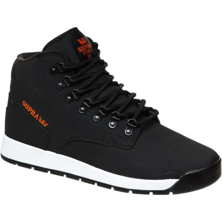 Skateboard Slushy parking lots will slop up your low-pro skate shoes to the point of no return. Thankfully, the Supra TUF Backwood Boot is here to cocoon your foot in weather-resistant TUF material and more style than any other winter boot you've ever seen. - $83.97
