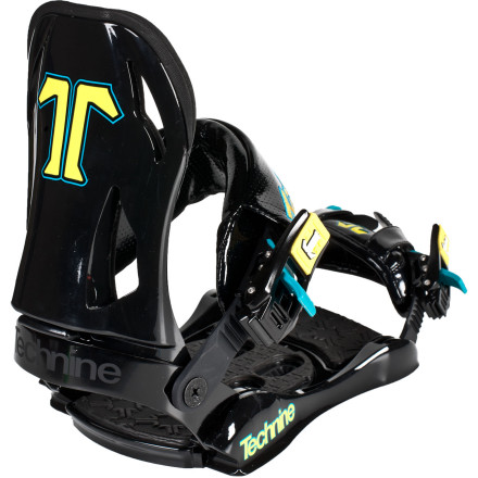 Snowboard The Technine T9 Snowboard Binding gives progressing female riders an easy-riding design that's perfect for taking your skills to the next level. A soft nylon highback helps cut down on calf bite on those long toeside traverses, while the often-imitated Baltimore toe strap pulls your foot back into the heelcup for a more secure fit with fewer pressure points. - $107.97