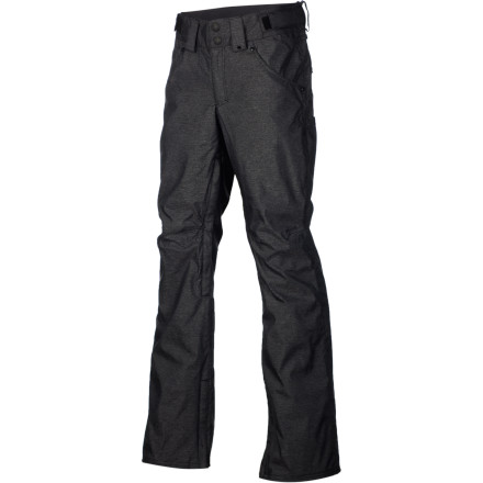 Snowboard Get that slim-fit jeans look when you're riding without dealing with a soaked ass all day with the ThirtyTwo Wooderson Men's Snowboard Pant. 10K-rated twill fabric stands up to abuse from falls, and keeps you dry so you can lap the park all day and hike a rail all night without freezing your butt off. - $110.47
