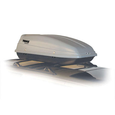Auto and Cycle The Thule Side Kick is the smallest rooftop cargo box that Thule makes. This clamshell style box's shape and size make it perfect for carrying golf clubs and camping gear without monopolizing your roof space. The Side Kick is made of impact resistant polyurethane, and keeps your gear safe and secure with the included locks. The Side Kick will mount to almost any rack system, be it Thule, Yakima, or factory. - $260.96