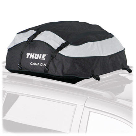 Entertainment Unlike standard cargo boxes which wreak havoc on your gas mileage or take up half your garage even when empty, the Thule Caravan Cargo Carrier collapses into its own storage bag when not in use. Plus, this weatherproof PVC bag fits on any factory or installed roof rack, so you don't have to drop more dough on fit kits. The Thule Caravan Cargo Carrier holds an incredibly 13cu feet of gear on your roof and out of the rain, so you have more room to stretch out during your road trip. - $98.96