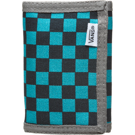 Skateboard Bring old-school style to your back pocket with the Vans Mens Slipped Wallet. The checker-board pattern made famous by Vans classic slip-ons can now be home to your cards, cash, and coins, as well as your feet. The Slipped Wallet features hook-and-loop closure, a change pocket, a clear ID window, a card section for you plastic and room for all your cheese. - $14.95