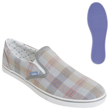 Skateboard The Vans Womens Slip-on Lo Pro Shoe takes the legendary skate slip-on and gives it a feminine touch. This casual shoe features a slimmer sole and a comfortable all-canvas upper, ideal for kicking it at a beach party or rolling to the coffee shop on your beach cruiser. - $29.22