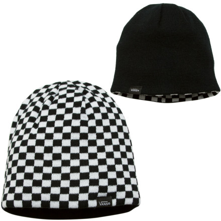 Snowboard If you change your mind more often than a political candidate changes views during election year, then the Vans Mens Whichever Reversible Beanie is the beanie for you. Show the world the solid side of this Vans beanie when you want to hide your checkered side from prying eyes. - $11.97