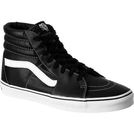 Skateboard For a look that will never go out of style, pick up the Vans Sk8-Hi Men's Shoe. The original Vans high top shoe, it has light, breathable canvas in the upper with suede in high-abrasion areas for durability, as well as the classic waffle sole to keep your feet locked on your board. - $48.72