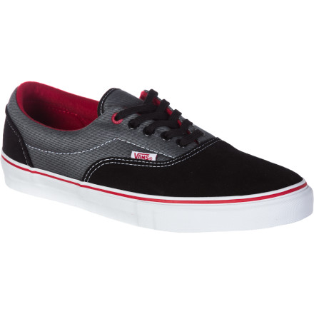Skateboard The Vans Mens Era Pro Skate Shoe features the same clean and simple look of the Era, but with the twist of a durable all suede upper. Performance footbeds increase the skateability of this shoe. Its pretty much Vans way of reminding everyone who was the first and who is still the best at performance vulcanized. - $38.97