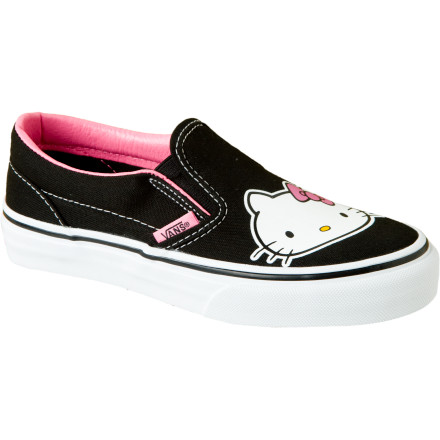 Skateboard If Hello Kitty tees and lunchboxes aren't enough for you, check out the Women's Hello Kitty Classic Slip-On Shoe from Vans. Truly an icon in her own right, Hello Kitty's essence is captured in these cozy slip-on shoes with vulcanized rubber outsoles. Gals rejoice! - $32.97