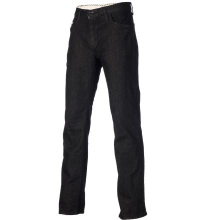 Skateboard Super baggy pants are a no-go when skating, so pull on the Vans Mens V66 Slim Denim Pant when you want some jeans that dont put a damper on your skate form. Its slim fit with straight leg gives you plenty of room to move about when you hit up the skatepark or street scene. - $34.96