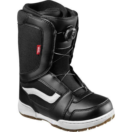 Snowboard So he wants to ride That not only means you have to buy his gear and drive him to the hill, but you're one who will be gloveless and struggling trying to get his gear onincluding his boots. Enter the Vans Encore Boa Kids' Snowboard Boot. Equipped with the Boa lacing system, Junior will be laced up in a jiff and ready to rip. - $76.93