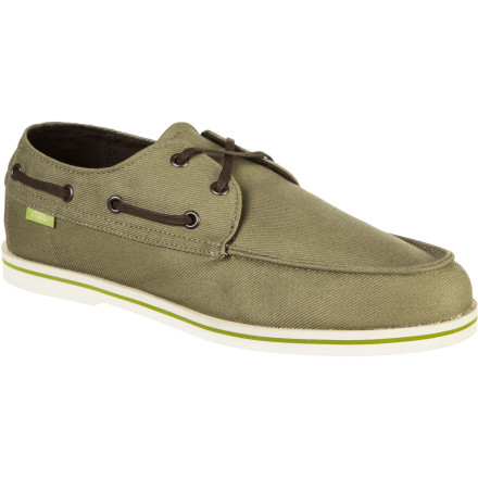 Surf Hit the high seas in style with the Vans Foghorn Men's Shoe. It has boat a shoe-style sole and lacing so that you can mingle with the fancy yachting folk, and it has a removable Surf Sider footbed that can be washed after you sweat it up during a long day of swabbing the decks. - $51.96
