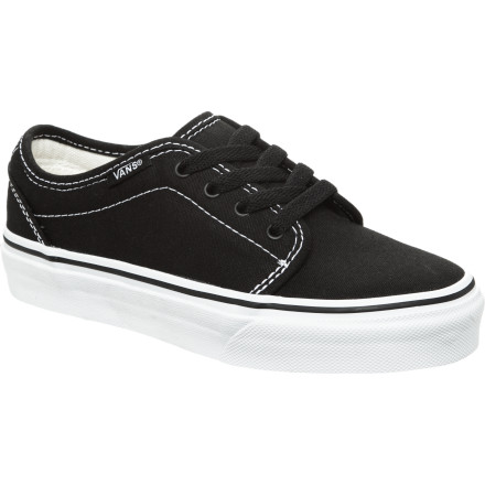Skateboard Keep it classic with the Vans 106 Vulcanized Kids' Skate Shoe. He'll be stoked on the grippy vulcanized outsole for skateboarding, and you'll be glad it's not too loud to wear with his school uniform, so you only have to buy one pair of shoes. - $23.97