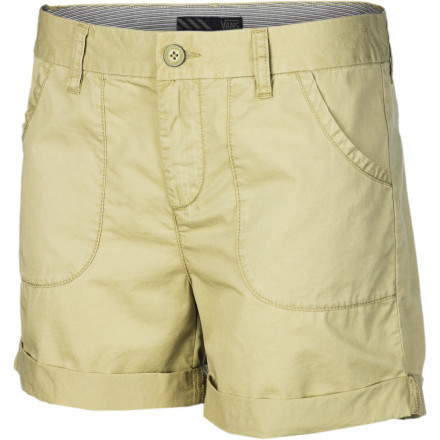 Skateboard The Vans Women's Blixen Short throws off such a chill, relaxed vibe, it's actually impossible to do anything quickly when you're wearing them. If you're in a hurry, forget it; this cotton canvas short with vintage surplus style and a rolled cuff likes to take things easy. - $26.67