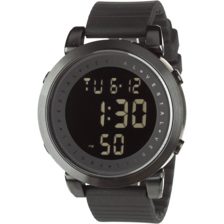 Entertainment The Vestal Digital Doppler Rubber Watch handles situations from forecasted drizzle to unexpected monsoons to last-minute surfing getaways. This bold, modern-styled digital watch has a down-to-one-hundredth-of-a-second chronograph, marine-grade stainless steel, and 100m water-resistance. - $139.97