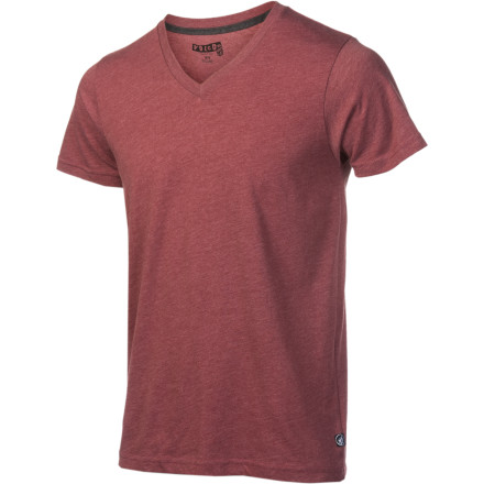 Surf Check out the slim-fit Volcom Mens Solid Heather Too V-Neck Short-Sleeve T-Shirt if youre looking to take the plunge into the V-neck world. Its 6  3/4 - inch neck drop wont unleash all of your manly chest hair out of its cave, but just enough to ensure you wont get carded at the bar. - $15.96