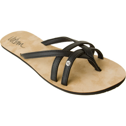 Entertainment The Volcom Women's Look Out Creedler Sandal has your back when you sneak some late night munchies into your purse. No, it can't distract the teller with flirtatious batting eyelashes, but its woven faux leather straps stay snug as you casually stride toward the door. - $20.66