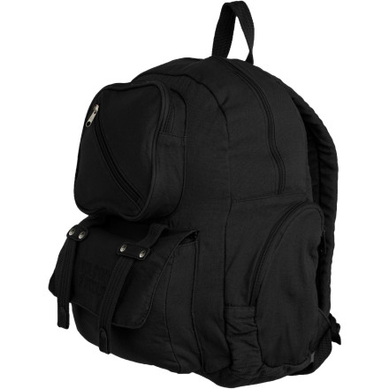 Camp and Hike Alert, alert ... the Volcom Warning You Backpack has fully organized all of your small and large school essentials. Durable cotton canvas and comfortable shoulder straps make it easy to carry, while two side pockets stash your beverages of choice. A spacious main compartment holds your books and whatnot, while multiple smaller pockets keep you organized. - $38.47