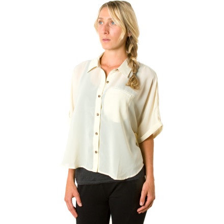 Fitness You may be sweating bullets and your makeup may be running a little as you wait to go on camera, but you're looking cool, calm, and collected (below the neck, at least) when you're wearing the Volcom Women's Green Room Short-Sleeve Top. This cute chiffon button-down with a cropped front and an exaggerated drop tail just might give you the confidence you need to score big on the game show. - $9.89
