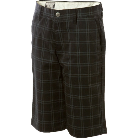 Surf Celebrate your little guy's graduation from babyish pants with snaps on the inseams and deck him out in the hip Volcom Toddler Boys' Frickin Plaid Short. The short's relaxed fit and adjustable waistband to allow plenty of room to take evasive action when it comes time to lock him in a car seat or stick him in the bath. - $18.95