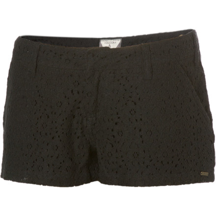 Surf Pull on the Volcom Frochickie Laced Shorts, a pair of thigh-highs, and some patent-leather wingtips, and show the sheep what bold fashion looks like. These mini chino shorts have a full lace lace overlay, and they close with a hook and bar for a flat-front finish. - $24.73