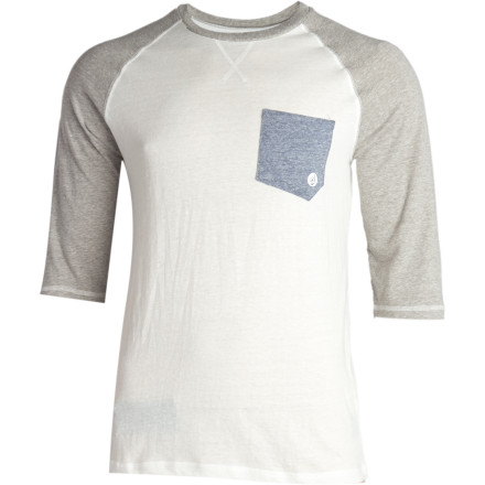 Surf There's nothing you hate more than baseball, even including prison. The judge knew this and that's why you find yourself wearing the 3/4-length sleeved Volcom Rudi Custom Raglan and coaching nine-year-old to not pick their noses during little league games. - $20.97