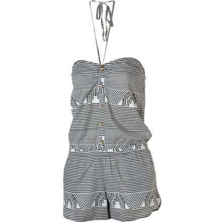 Entertainment If your sexy mini dress had a laid-back little sister, it would be the Volcom Strybal Tube Jumper. This halter-top romper lets your epidermis drink in those sweet summer vibes, and its relaxed fit keeps things mellow. - $24.73