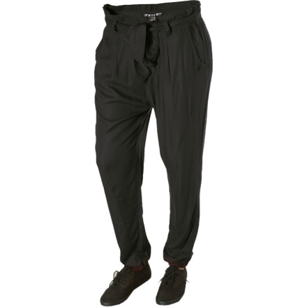 Surf Ditch the jeans and put on the Volcom Women's Paper Moon Pant for your job interview. You've come a long way from the days of slinging tables and cleaning up other people's messes, so show it with this sophisticated pant. Its pleated front, waist sash, and tapered leg let upper management know that not only do you have a degree but a few years of experience in the fashion biz as well. - $11.89