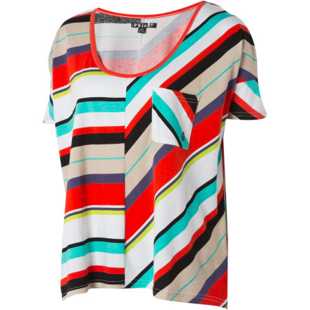 Surf The Volcom Women's Paper Planes Short-Sleeve Shirt tosses aside conventional solid prints for playful strips. - $26.97