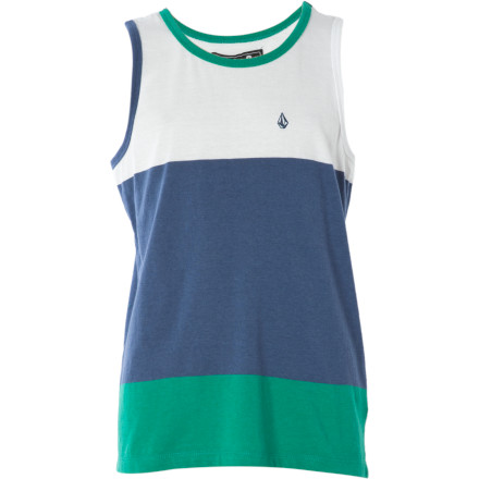 Surf For whatever reason, all your curious kid does at the beach this year is wear the Volcom Boys' Stickler Tank Top and hone his juggling skills. - $12.58