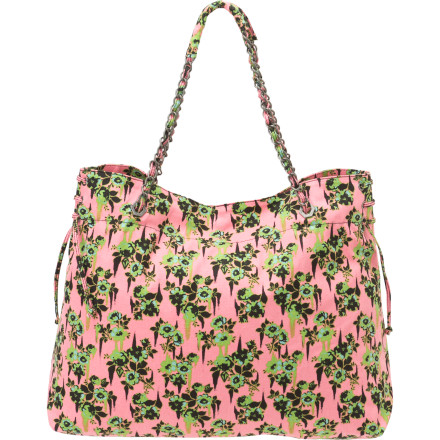 Surf Every time you see your Volcom Women's Break It Up Beach Tote sitting in your room, you won't be able to resist the temptation to toss in your bikini and head to the beach. This bag is fun and flamboyant, and it just looks like a good time. - $22.25