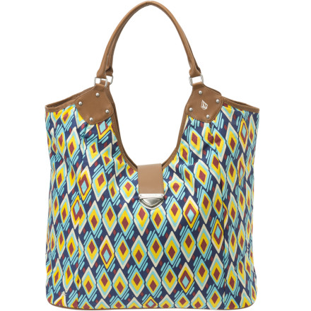 Surf Whether you're headed to the beach or just trying to get through the work day, the Volcom Women's Vintage Finds Beach Bag gives you a unique, fun look that will make you feel sunny even if you are stuck inside. - $24.73