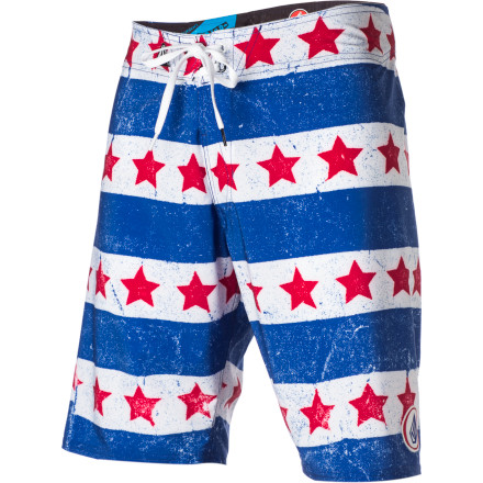 Surf The Volcom Merica Board Shorts do not include a free monster truck, chicken wings, or childhood obesity. They do, however, include a big ol' fat helping of awesome. It's like manifest destiny for your lower body. - $47.96