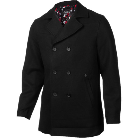 Surf The Volcom Rudder Peacoat throws down with a classic, military style that will keep you looking slick whether you're shaking things up in office or showing up for a first date. - $83.97