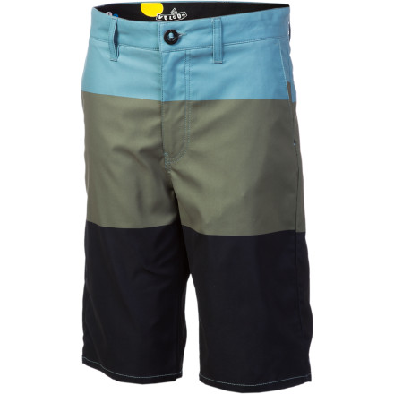 Surf The life of a teenager can be tough, especially when the neighborhood bully has the habit of throwing fully clothed kids into swimming pools. The water-friendly Volcom Boys' Frickin Modern V2S Short lets your bright lad anticipate the aquatic aggression with its stretchy, quick-drying polyester fabric. - $22.48