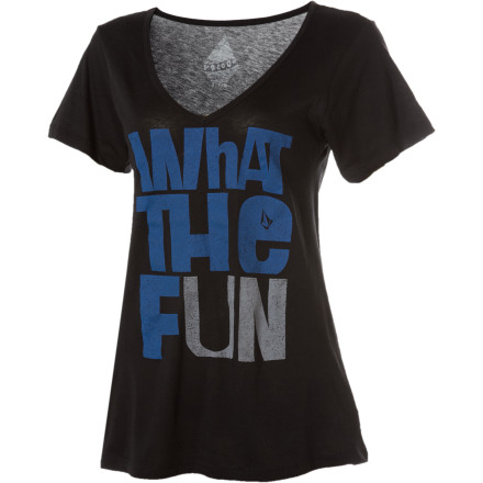 Surf Volcom What The F Boyfriend V-Neck Short-Sleeve T-Shirt - $12.48